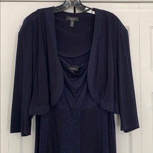 Navy blue sparkly formal dress with jacket